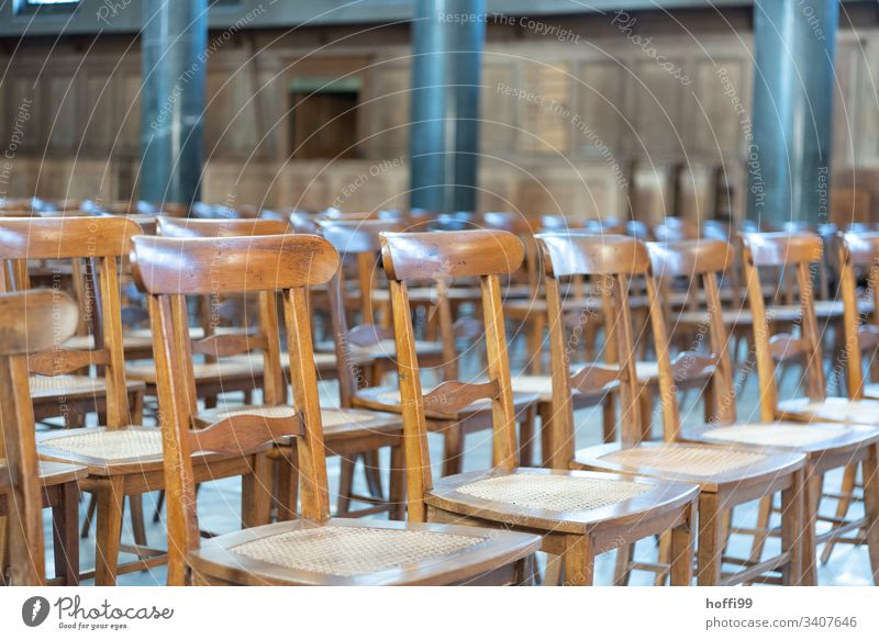Wooden chairs in a church Chair minimalism Minimalistic Row of chairs Sanctuary Religion and faith Hope Christianity Belief Gothic period House of worship Dome