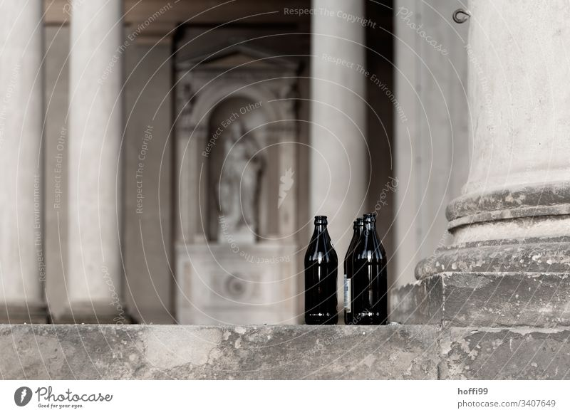 Empty bottles in Sanssouci Palace Beer bottles Column Structure Bottle Alcoholic drinks Drinking Alcohol-fueled Intoxicant Loneliness Deserted Dependence Glass