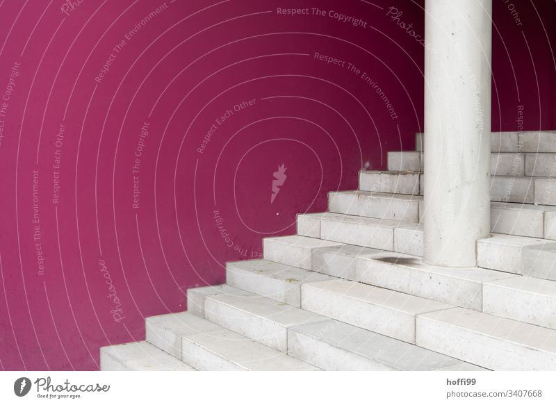 white stairs in front of purple wall Wall (barrier) Stairs stagger Pecking order Brick Graphic Line Colour photo Detail Approach to the stairs lines Pattern