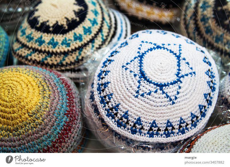 Headgear, crocheted kippa with Star of David Headwear Judaism Kipa Israel Religion and faith jew Handcrafts Crochet Sell sales booth Jewish levi Belief Eternity