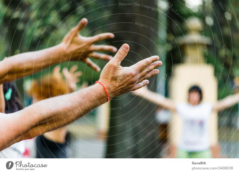 hands of people are raised up yoga in the park active colors day fingers health nature part of the body recreation silhouette silhouette of man sport summer