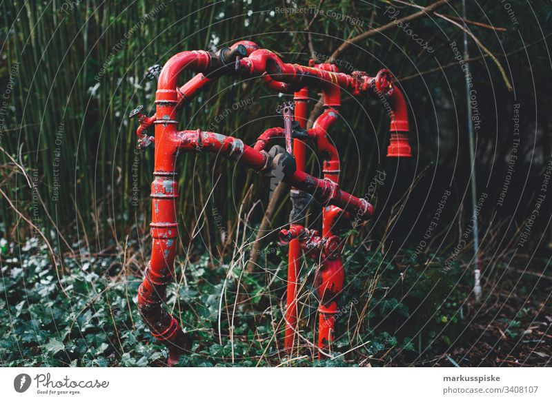 Line Pipe conduit pipes Transmission lines Gas Water Heating Garden Red metal Connection