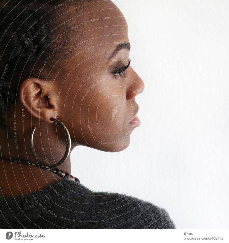 Tash earring Profile feminine Chain Skeptical sad actress Moody Jacket Wool Looking Meditative see look Inspiration tranquillity Serene