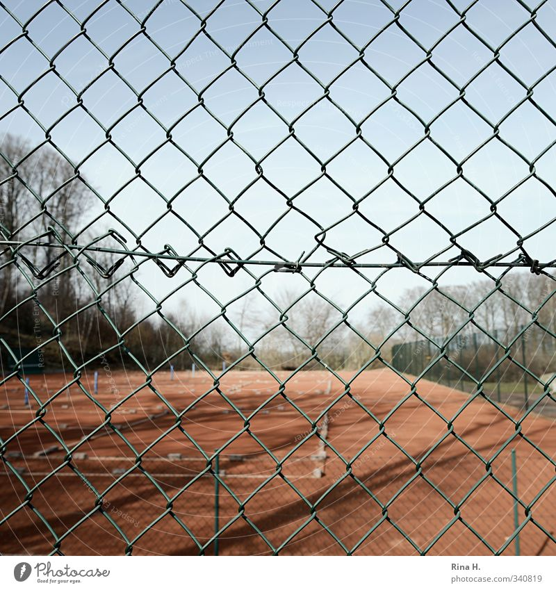 closed Leisure and hobbies Sports Fitness Sports Training Ball sports Sporting Complex Tennis court Spring Beautiful weather Wire netting fence Square Closed