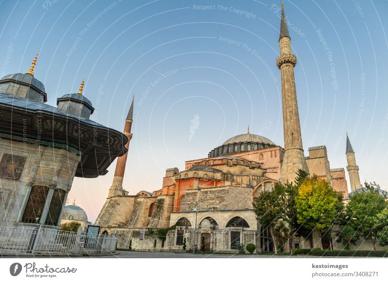 Hagia Sophia domes and minarets in the old town of Istanbul, Turkey, at sunrise. istanbul mosque turkey landmark hagia sophia architecture building islam