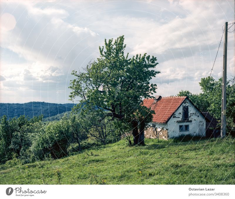 Old damaged abandoned house on a hill romania ruin architecture nature old wooden roof building rural ethnic village vacation europe ethno tourism ethnicity