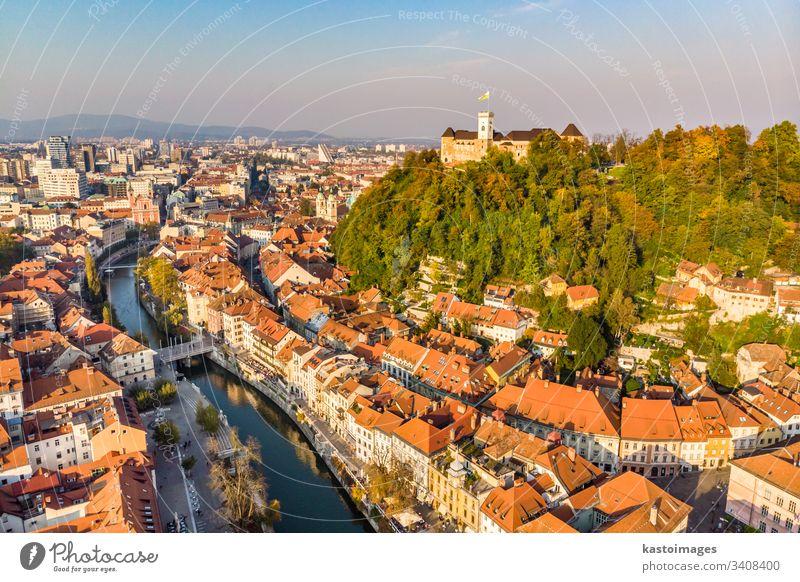 Cityscape of Ljubljana, capital of Slovenia in warm afternoon sun. ljubljana slovenia castle city landmark architecture building ljubljana castle church