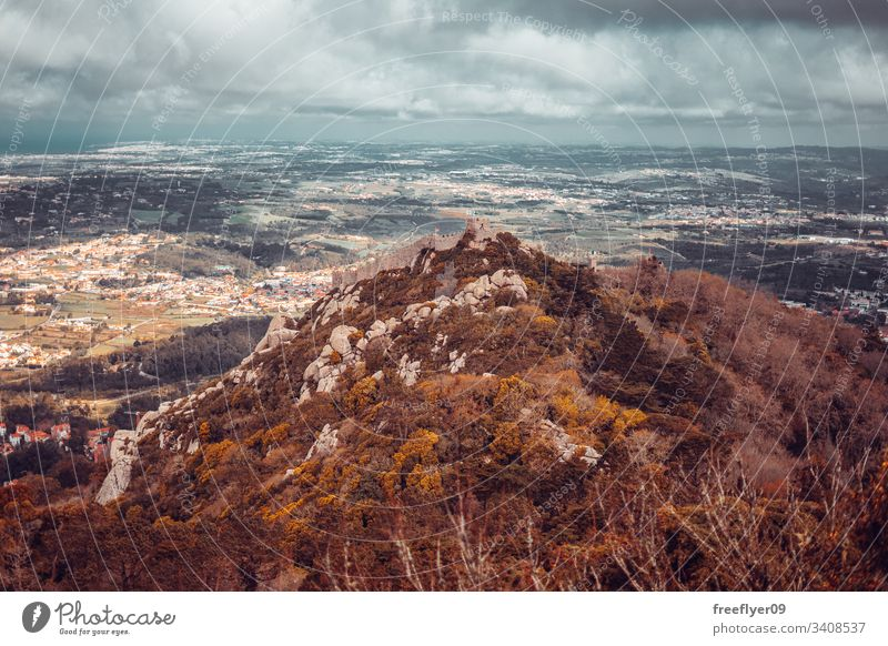 Moorish Castle above the Sintra Landscape, in Portugal tourism medieval castle moorish hiking landscape horizontal travel fortress wall tower heritage