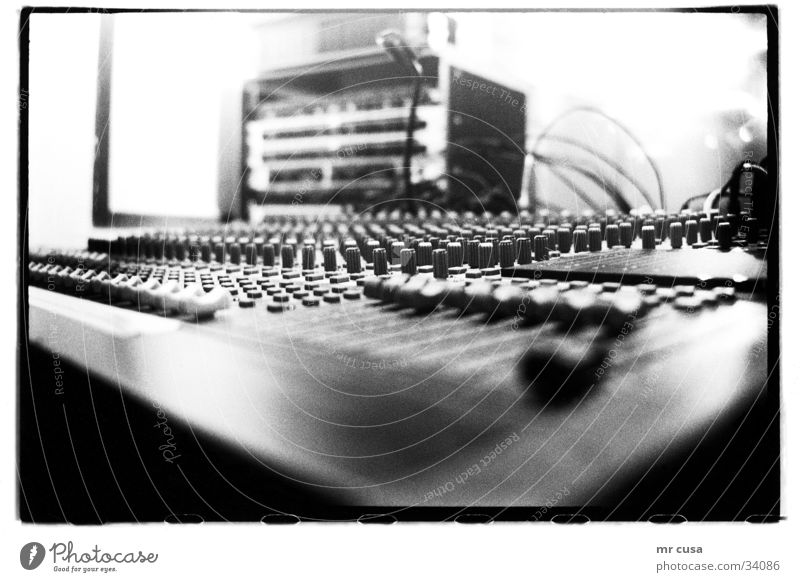 mixed Workshop Blur Macro (Extreme close-up) Close-up Mixing desk Music Detail depth blur Black & white photo black Technology