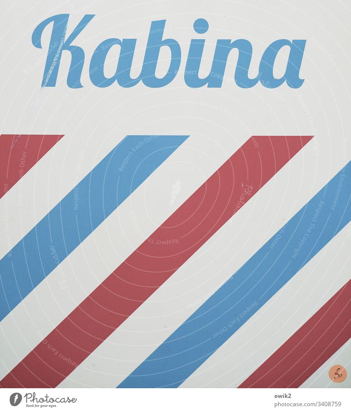 Photo booth Poland cabin Kabina Photos lettering Retro Stripe Simple Colour Eastern Europe Blue Red White Deserted Exterior shot Line Abstract Pattern