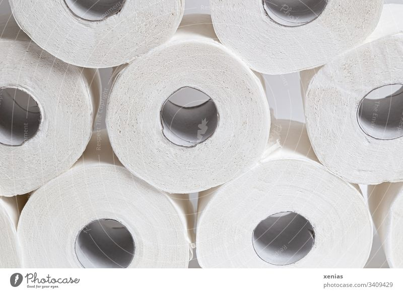 toilet rolls Toilet paper Paper role Roll White Round Clean Hoarding corona Personal hygiene