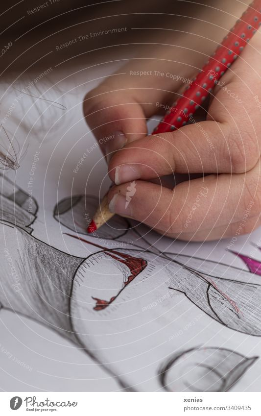 Hand of a teenager draws a zombie / Yuck! Drawing crayon Red Zombie Creativity Illustration Fingers Painting (action, artwork) Conceptual design