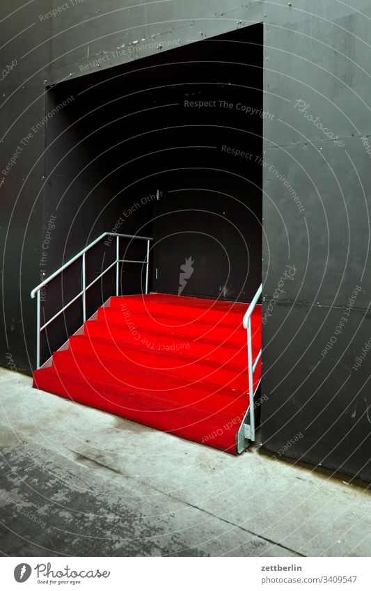 Red carpet sales Descent Downward ascent Upward Entrance Window Handrail Deserted Portal Stage Carpet Copy Space Stairs Landing Banister step Wall (building)