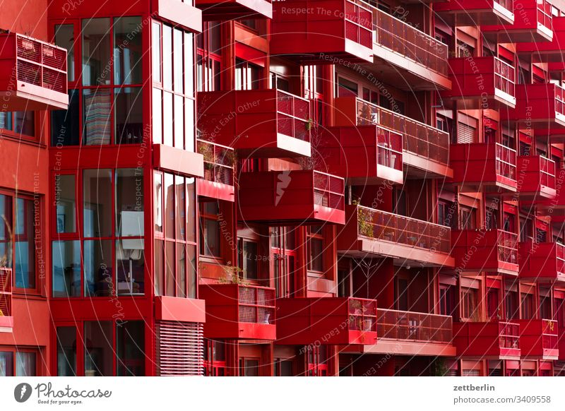 New building in red on the outside Berlin Facade Window House (Residential Structure) downtown Kreuzberg lokdepot Wall (barrier) Apartment house Deserted
