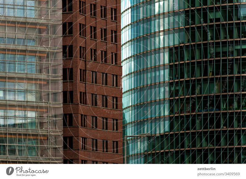 Potsdamer Square Architecture Berlin Office city Germany Worm's-eye view Capital city House (Residential Structure) Sky High-rise downtown Middle Modern
