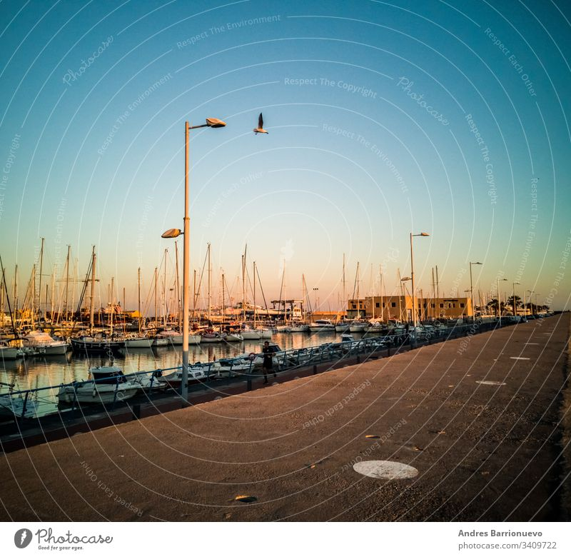 Burriana, Spain 12/06/18: Marina of Burriana travel pier nature lifestyle climate ship harbor outdoor white europe snow cold frosty marina scandinavian seasonal