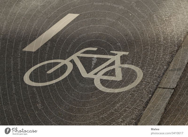 Separate cycle path for cycling. Bicycle icon on the pavement. safety road biking outdoor pathway symbol travel bike asphalt bicycle direction ground route sign