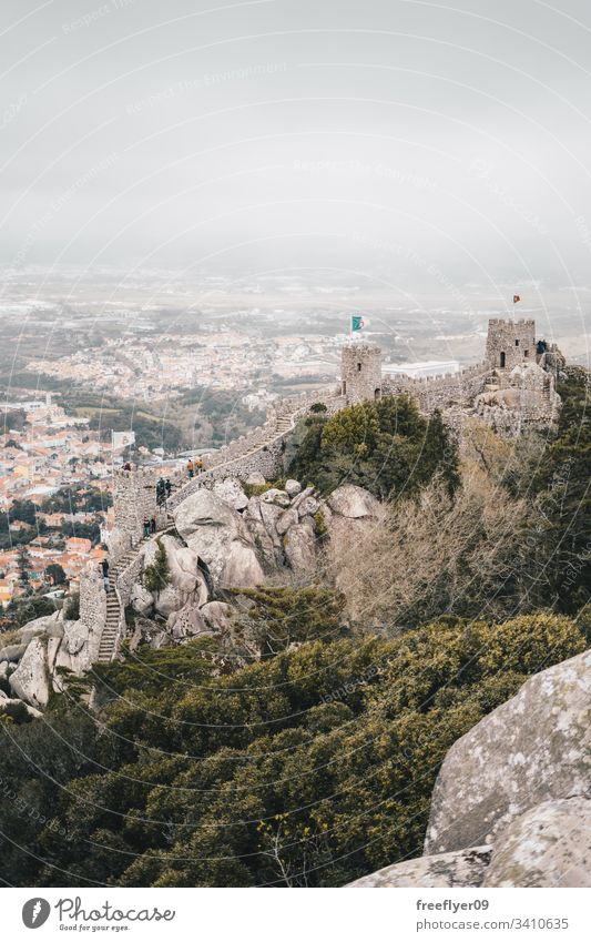Medieval Moorish Castle in Sintra, Portugal tourism medieval castle moorish hiking landscape horizontal travel fortress wall tower heritage architecture