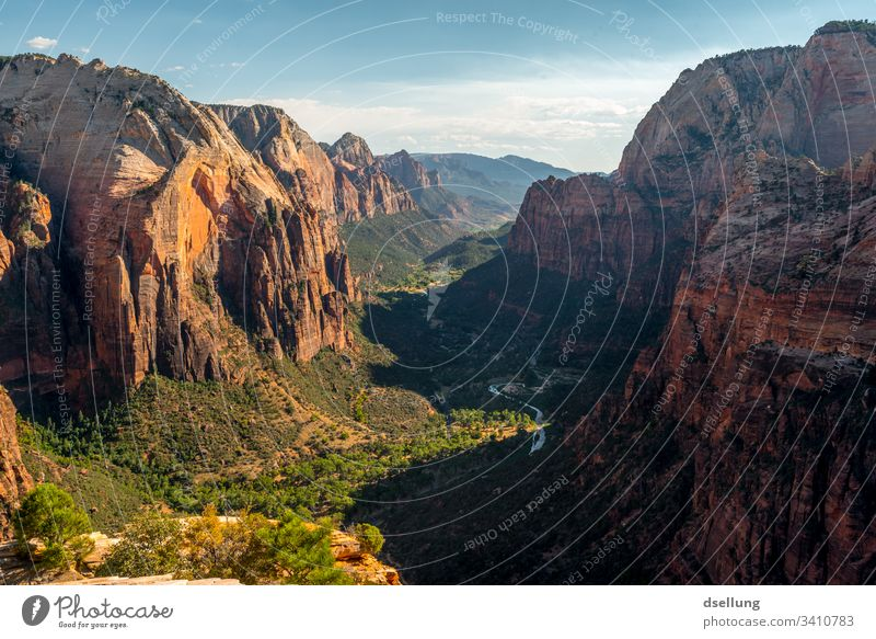 Dramatic valley with strong rocks at dusk Zion Nationalpark Angels Landing USA Mountain Nature Canyon Rock Exterior shot Colour photo Deserted Vacation & Travel