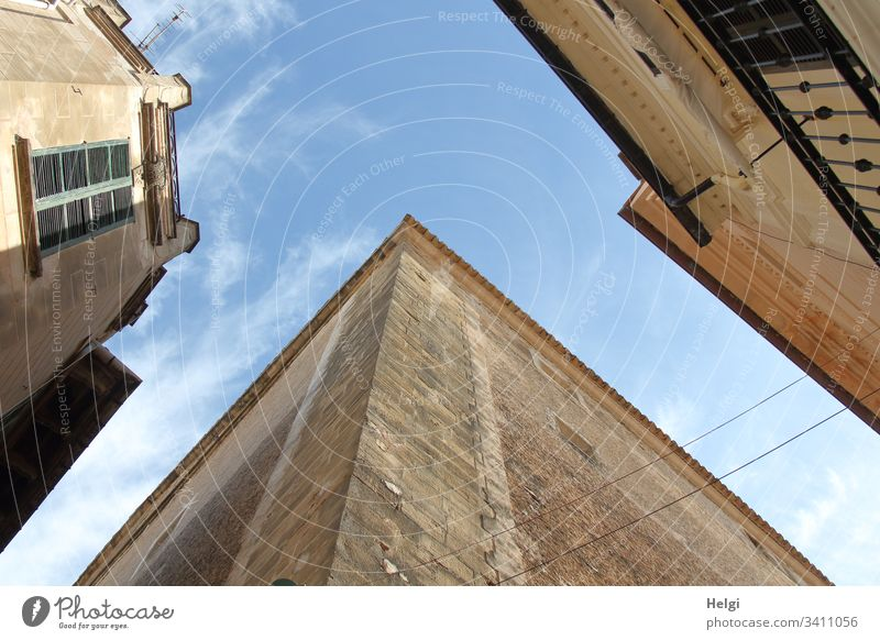 Facades and house walls from the frog's eye view with blue sky and few clouds Building Window Architecture House (Residential Structure) Town Deserted