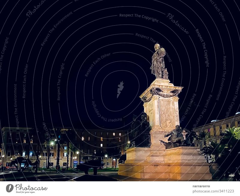 the monument with the statue of Cavour in the center of Piazza Cavour in Rome rome italy piazza cavour sculpture history italian Night Famous Place Architecture