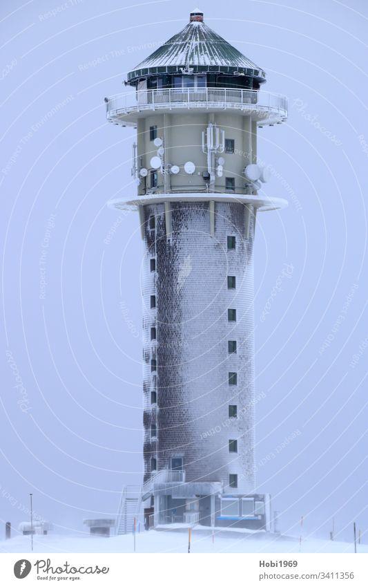 Feldbergturm on the Feldberg surrounded by snow and ice Feldberg tower Black Forest mountain Tower southern Black Forest Upper Black Forest Snowstorm Ice
