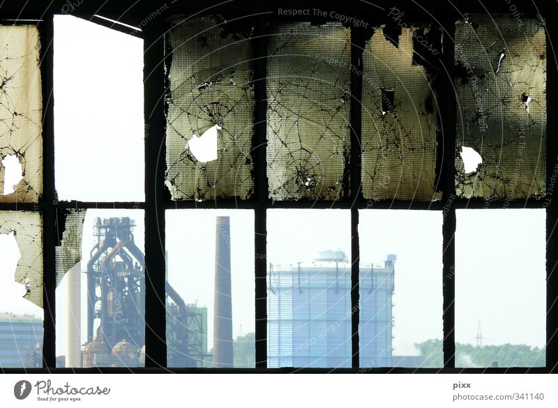 Duisburg from the inside Net Destruction City life Blast Furnace Meiderich Industrial plant Glass Smashed window Far-off places 12 Window Chimney Gasometer