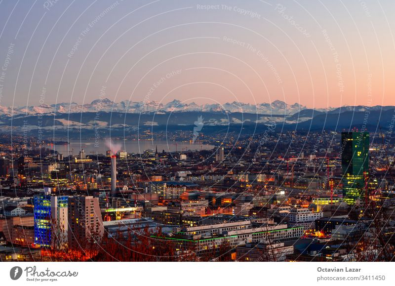 The city of Zurich at sunset, the Alps in the background Mountain mountains City Vista Appearance Swiss Tourism Europe outlook Landscape travel overlook