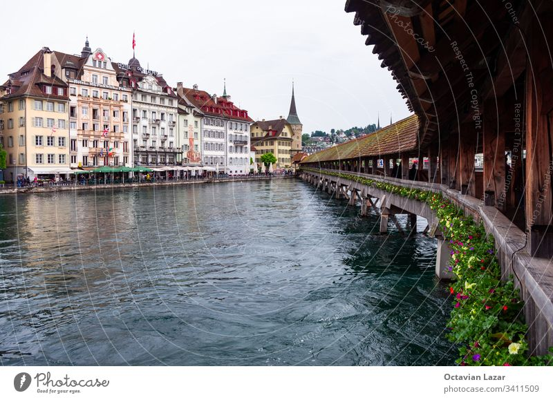 View from the Lucerne Kappelbrücke Reuss river old town building in the background Architecture Attraction Beautiful Blue Bridge Building Canton Chapel