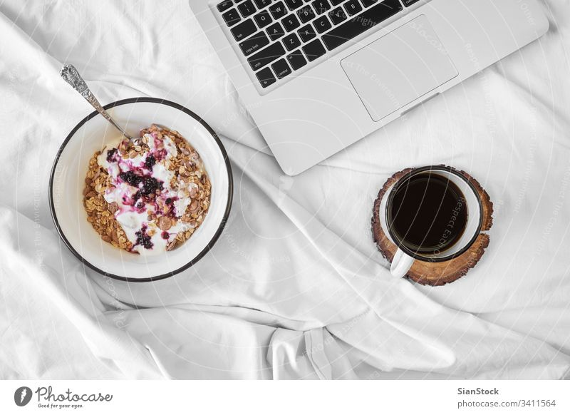 Breakfast in bed top view breakfast coffee cup white tray hot food background drink sugar sweet warm tea cream mood home closeup cozy muesli oats yoghurt