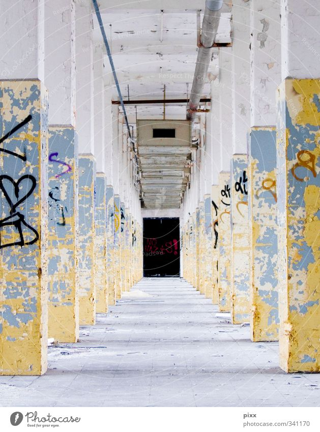 avenue Workplace Industry Closing time Architecture Wall (barrier) Wall (building) Lanes & trails Concrete Characters Old Work and employment Town Blue Yellow