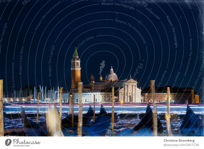 Nightly view of San Giorgio Maggiore Long exposure Lagoon Nocturnal color Water Night shot Gondola (Boat) Moody Culture Maritime Church Campanile Italy Town