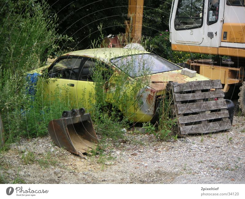 Old Yellow Car Transport Construction site Rust Shabby Watercraft Wreck Feral