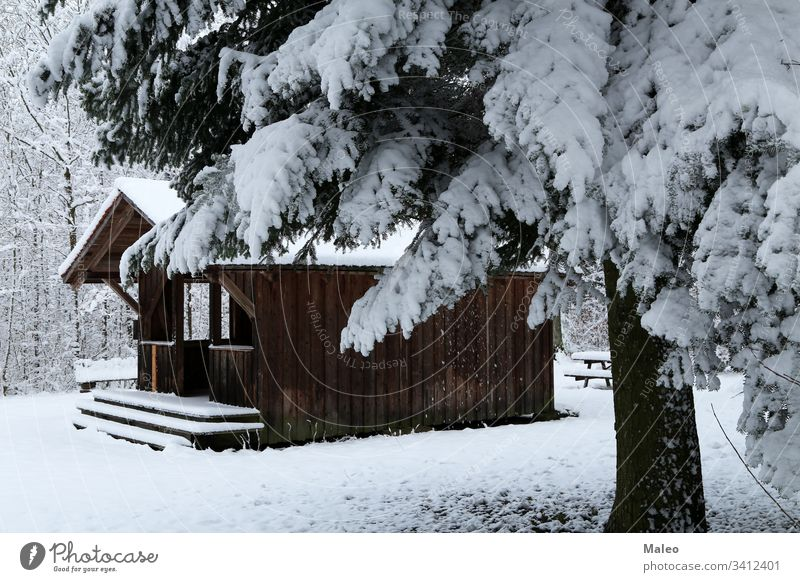 Winter landscape with a hut in the forest House (Residential Structure) Landscape Forest Snow Hut Nature Blue Public Holiday Jawbone Holiday season Tree Wood