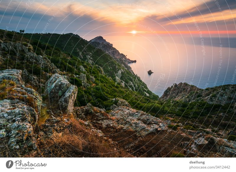 Sunset from the height, stones in the foreground colourful Natural Sunlight Exterior shot Landscape Sunrise Beautiful Colour Nature Light Green Blue rock Stone