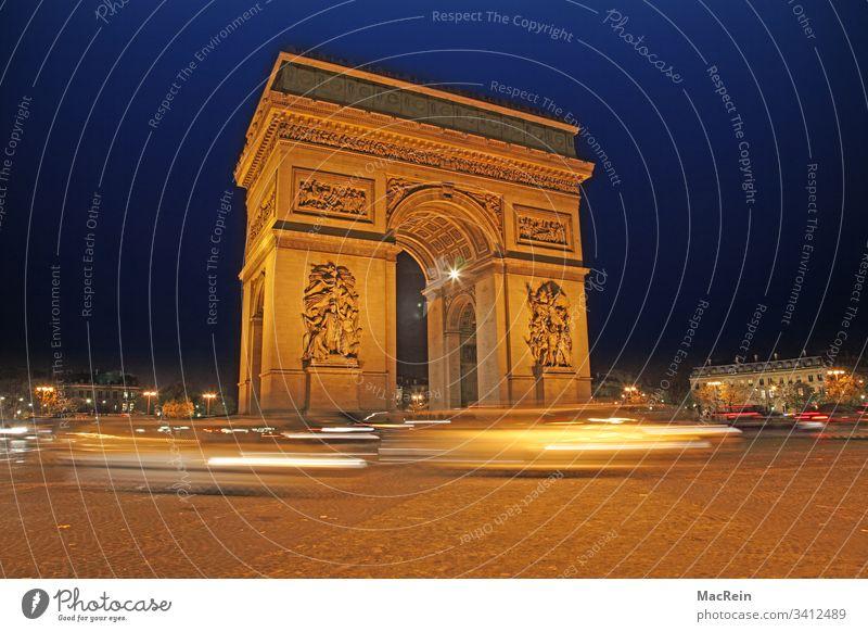 Arc de Triumphe in Paris Arc de Triomphe France Night shot Illuminated blue hour Landmark Monument center Place Charles-de-Gaulle destination City trips Europe