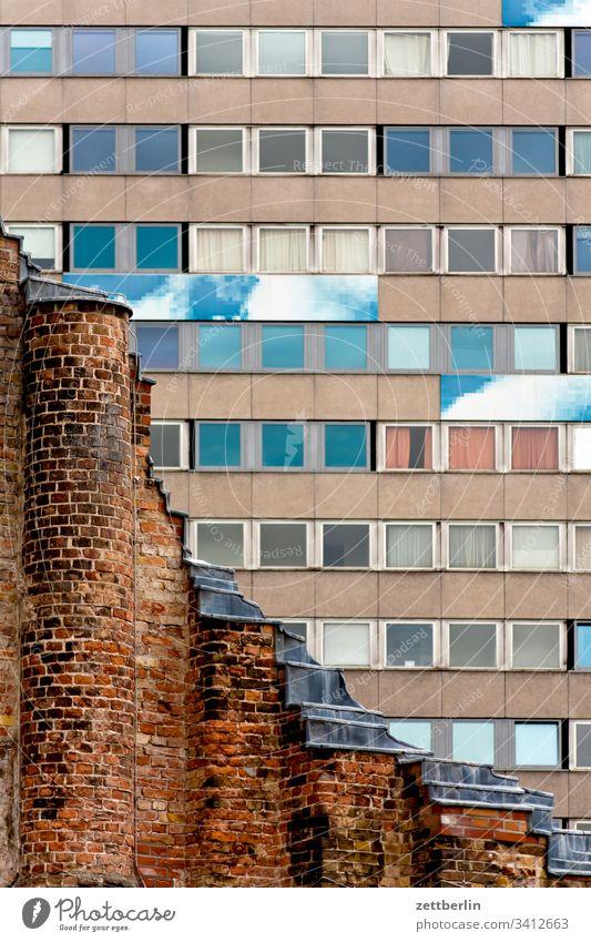 Anhalter Bahnhof Old building railway station Monument Facade Window Classicism Contrast War war ruin memorial dunning Apartment house New building