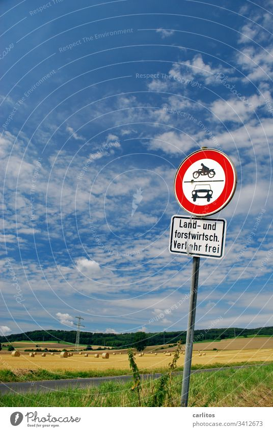 Not a farmer? Not a forester? No traffic !! sign Road sign Access interdiction Agriculture Forestry Street off Meadow Field Summer Autumn Sky Blue Clouds