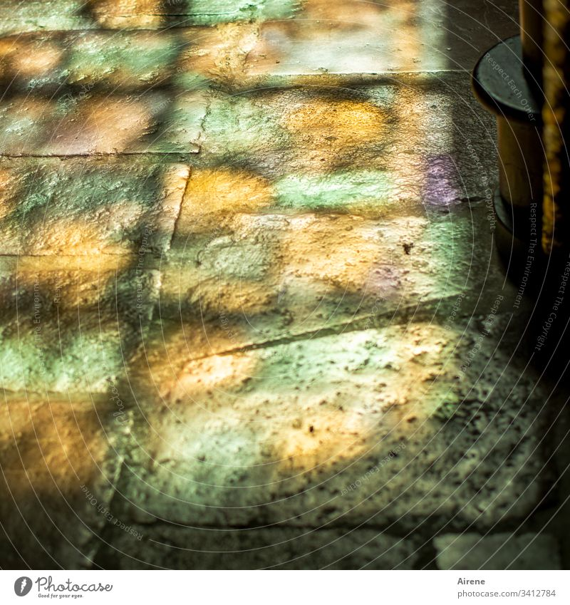grey paving stones, seen in the right light Blur Light (Natural Phenomenon) Reflection Day Deserted Interior shot Colour photo Religion and faith Mysterious