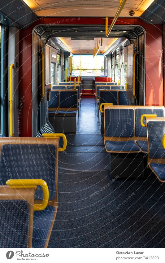 Tram car wagon coach inside empty chairs daylight in Zurich no people subway trolleybus line commute europe cabin transit railroad commuter tramcar