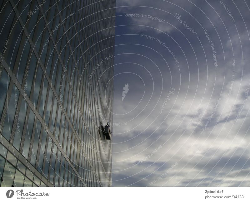HighLight Munich Business Towers #2 High-rise Might Gray White Window Window cleaner Cleaning Reflection Architecture Sky Glass Tall Gigantic Blue