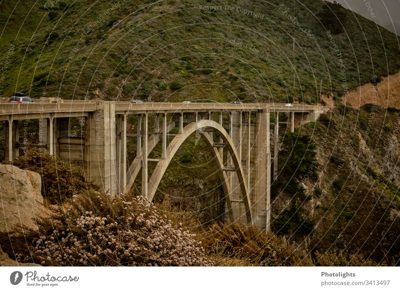 Highway 1 Route - Bixby Bridge - California Highway One Pacific Ocean Vacation & Travel USA Coast Colour photo Landscape Rock Exterior shot Street Nature Summer