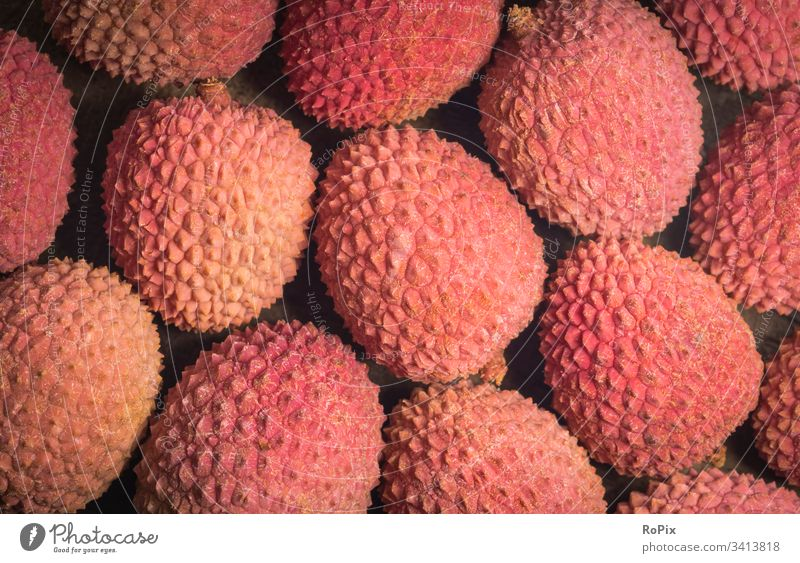 Background of tropical fruits. Litchi Fruit Asia soap tree plant Litchi Plum Love fruit Lychee soapberry vitamins food products Nutrition Eating Exotic Vietnam
