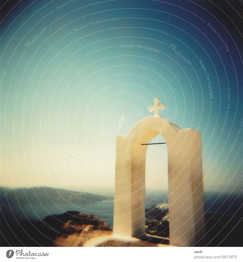 Part of an orthodox chapel on Santorini, Greece with view over the sea, analog Analog Island Cyclades Ocean Mediterranean sea the Aegean Exterior shot