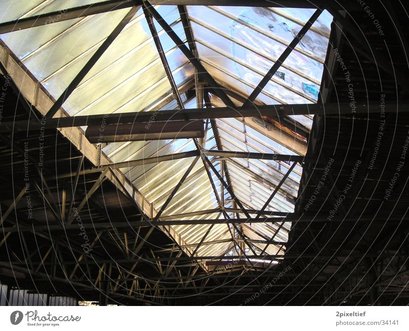 Old station Laim #1 Roof Light Candlestick Railroad Railroad tracks Platform Black Gray Transport Glass Warehouse Train station Loneliness