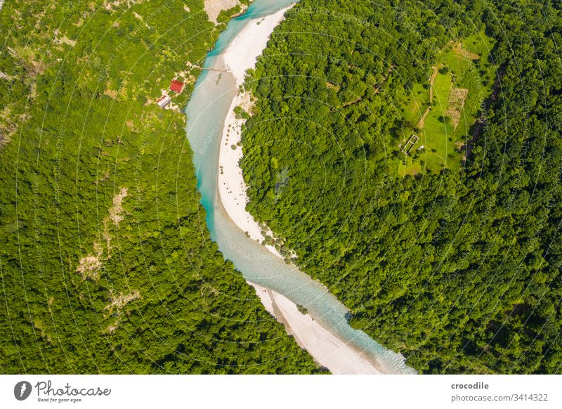 tributary to the Komani Reservoir in Albania River Wilderness Freedom UAV view Lake Mountain Balkans Forest Water Landscape Exterior shot Deserted Nature