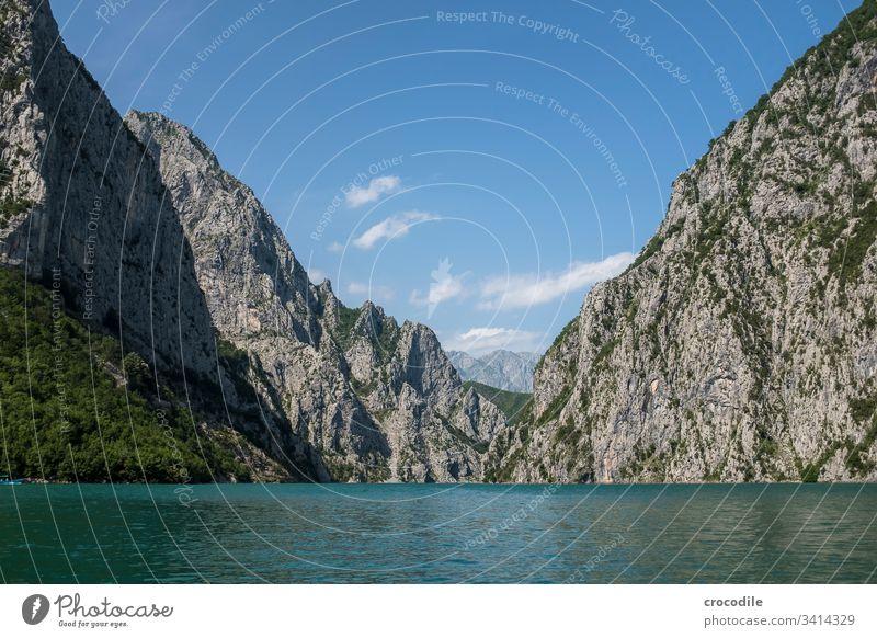Komani Reservoir in Albania Lake Hydroelectric  power plant Mountain Balkans Forest Water Landscape Exterior shot Deserted Nature Environment Blue Lakeside