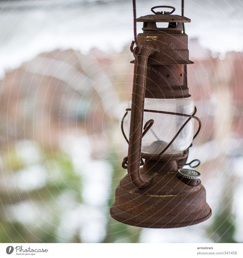 Old Plant Calm Winter Snow Wall (building) Wall (barrier) Lamp Metal Brown Glass Energy industry Illuminate Decoration Rust Hang