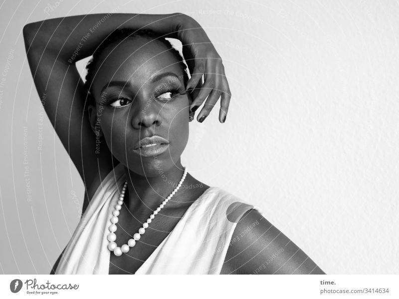 Tash especially Beautiful vigilantly daylight melanin Swarthy artist actress Observe look Looking Skeptical Feminine portrait feminine Dress stop test Chain