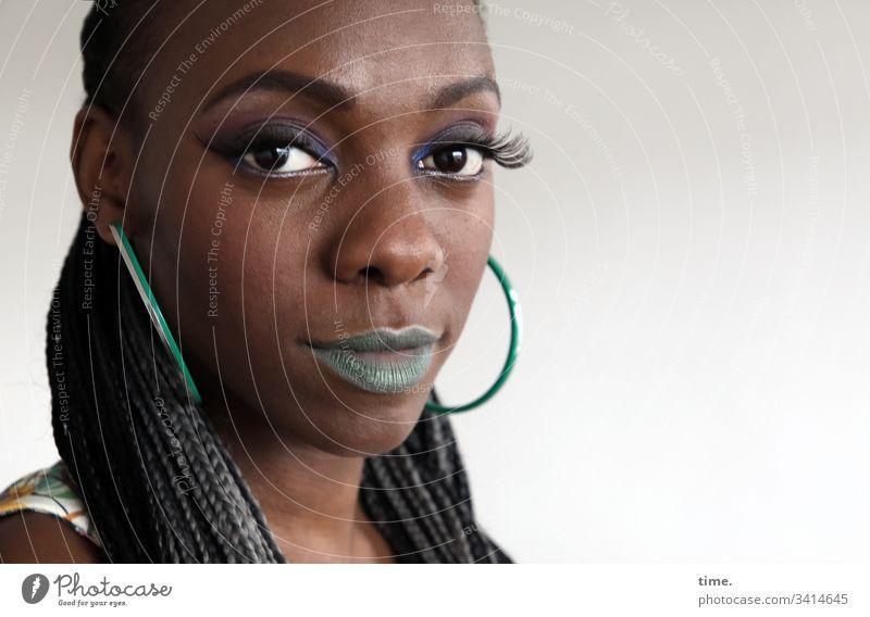 Tash portrait feminine earring Long-haired Lipstick Looking into the camera melanin actress straight Feminine Cool Skeptical Intensive Plaited Dark-haired Woman